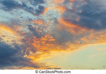 good orange sunset with clouds