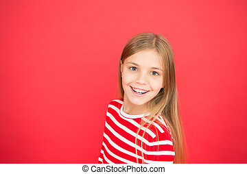 Good parenting. Child care. family and love. childrens day. happy little girl on red background. small girl child. School education. Childhood happiness. copy space. Little daydreamer