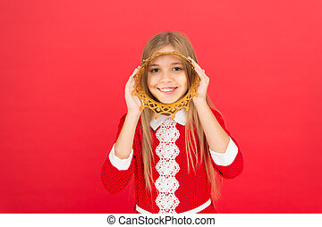Good parenting. Child care. small girl child. School education. family and love. childrens day. happy little girl on red background. Childhood happiness. littlle princess in crown. Little treasure