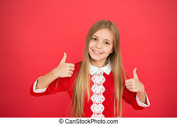 Good parenting. Child care. small girl child. School education. family and love. childrens day. happy little girl on red background. Childhood happiness. Nice day with family