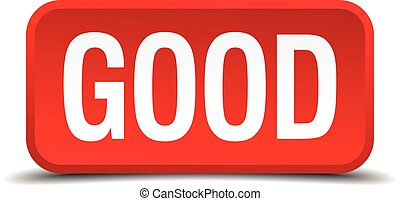 Good red 3d square button on white background