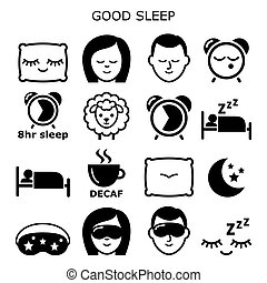 Good sleep hygiene, healthy sleep vector icons people sleeping at night design - health and lifestyle concept