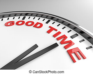 good time - Clock with words good time on its face