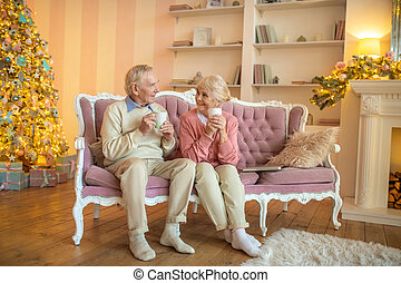 Senior couple sitting in a beautiful room and talking