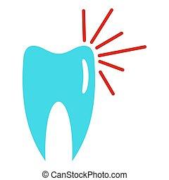 Good tooth logo icon, flat style.