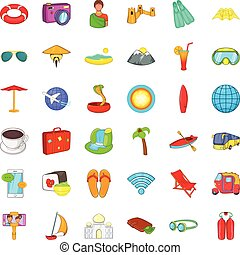 Good travel icons set, cartoon style