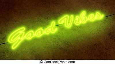 Good vibes neon sign means positive and optimistic lifestyle...