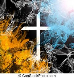 A cross depicting the concept of good vs evil.
