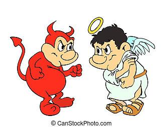 Good Vs Evil - hand drawn cartoon devil & angel fighting
