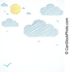 Good weather background. Blue sky with clouds. Vector