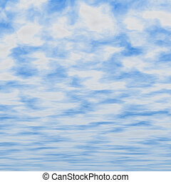 good weather - blue sky covered with fluffy clouds