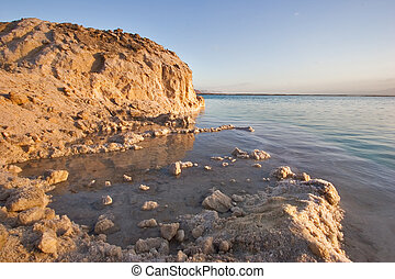 Coast of the Dead Sea near to a medical beach