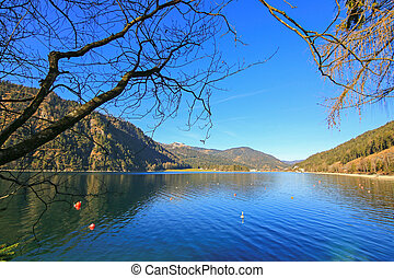 Good weather day with blue sky at the Achensee Lake during winter in Tirol, Austria