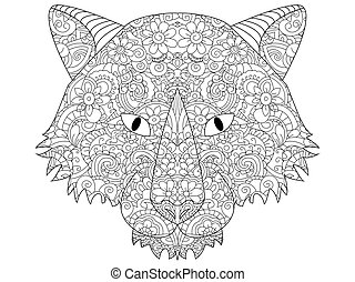 good Wolf head coloring vector for adults