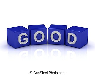 GOOD word on blue cubes