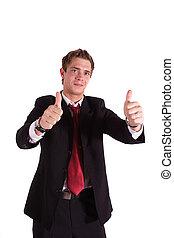 Good Work - A smarting businessman praises someone. All...