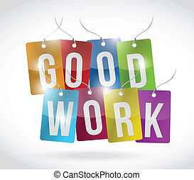 good work tags illustration design