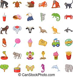 Good zoo icons set, cartoon style