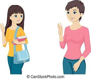 Goodbye Mom - Illustration Featuring a Teenaged Girl Waving...