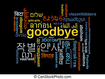 Goodbye multilanguage wordcloud background concept