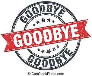 goodbye red round grunge vintage ribbon stamp