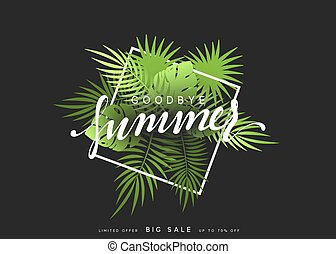 Goodbye Summer banner tropical background. Summer season vector illustration