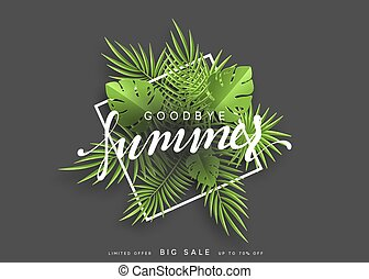 Goodbye Summer banner tropical background. Summer season vector illustration.