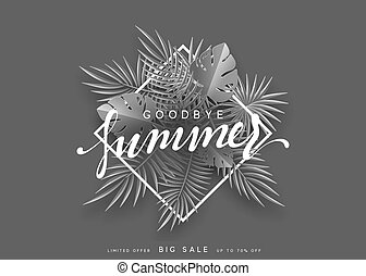 Goodbye Summer banner tropical background.