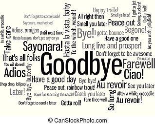 Goodbye Word Tag Cloud when say farewell - Goodbye Word Tag...