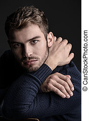 goodlooking young man - Handsome young man in scarf and...