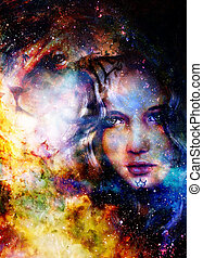 Goodnes woman and lion. Cosmic Space background.