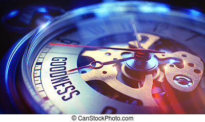 Goodness. on Vintage Watch Face with Close Up View of Watch Mechanism. Time Concept. Film Effect. Pocket Watch Face with Goodness Wording on it. Business Concept with Vintage Effect. 3D Render.