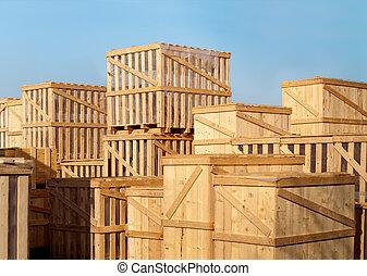 stock of heavy goods in wooden cases