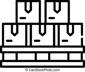 Goods on a pallet icon, outline style
