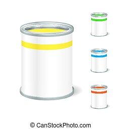 goods., realístico, liquid., bucket., cima, embalagem, lata pintura, vetorial, em branco, anunciar, abertos, template., escarneça