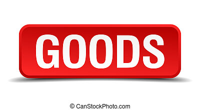 Goods red 3d square button on white background