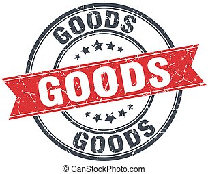 goods red round grunge vintage ribbon stamp