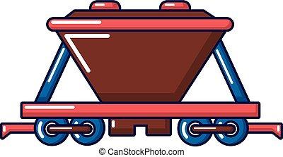 Goods train icon, cartoon style
