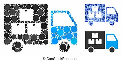 Goods Transportation Car Composition Icon of Spheric Items...