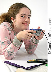 Goofing Off - A teenaged girl caught playing a video game...