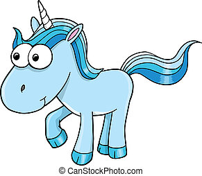 Goofy Blue Unicorn Vector