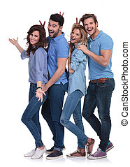 goofy casual group of young people inviting you to fun
