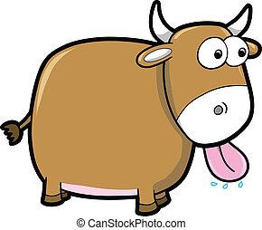 Goofy Happy Bull Cattle Animal Vector