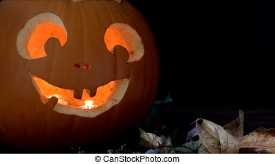 Goofy Jack O'Lantern - Goofy jack o'lantern with leaves and...