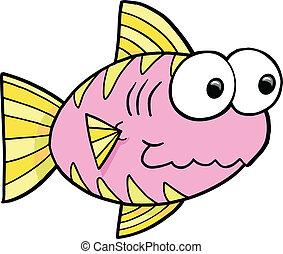Goofy Pink Fish Vector
