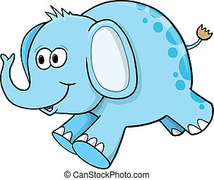 Goofy Silly Blue Elephant Vector