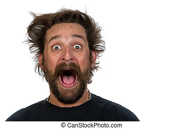Goofy young man, with full beard and moustache and wild hair...