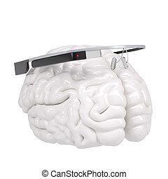 google, glas, och, hjärna