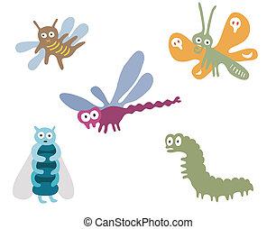 googly, eyed, insetos