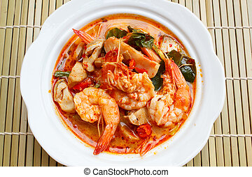 goong yum tom, temperado, sopa, com, shrimp.